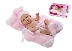 Panenka miminko vonící 33cm růžové pevné tělo v krabici