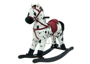 Kůň houpací bíločerný plyšový se zvukem