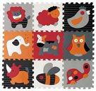 Pěnové puzzle Zvířata šedá-červená SX (30x30)