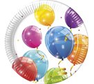 Papírový talíř 23 cm Jiskřivé balónky 8 ks