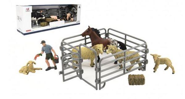 Zvířátka domácí z farmy s doplňky, sada, mix druhů