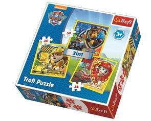 Puzzle Tlapková patrola Marshall, Rubble a Chase 3 v 1 (20,36,50 dílků)