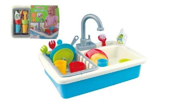 Dřez na mytí nádobí + kohoutek na vodu na baterie