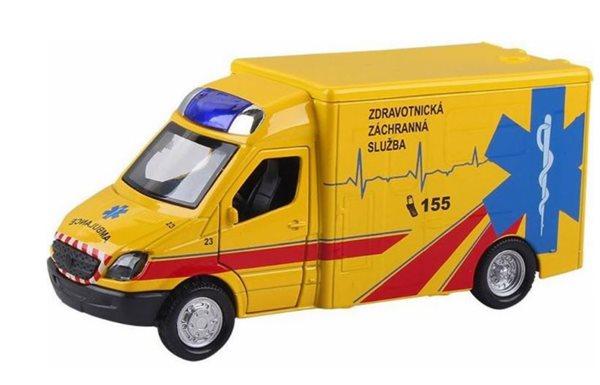 Auto ambulance kov/ plast 13cm na zpětné natažení a baterie se zvukem a světlem