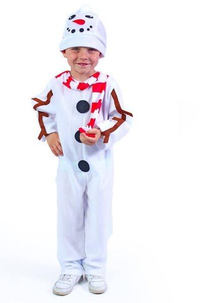 Kostým sněhulák s čepicí a červenou šálou