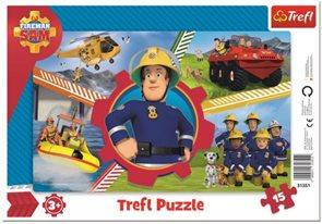 Puzzle deskové Požárník Sam 33 x 23 cm, 15 dílků