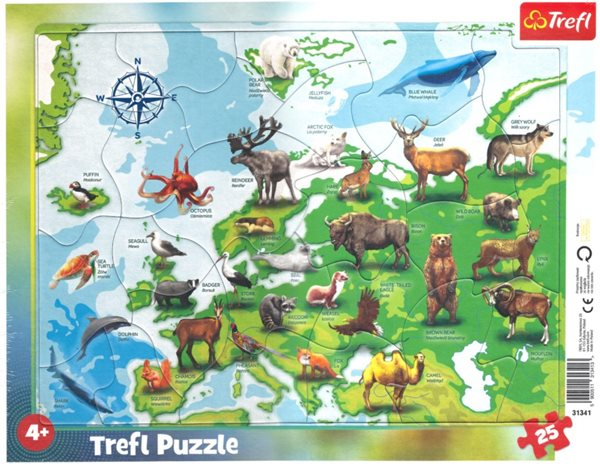 Puzzle Mapa Evropy se zvířátky 25 dílků
