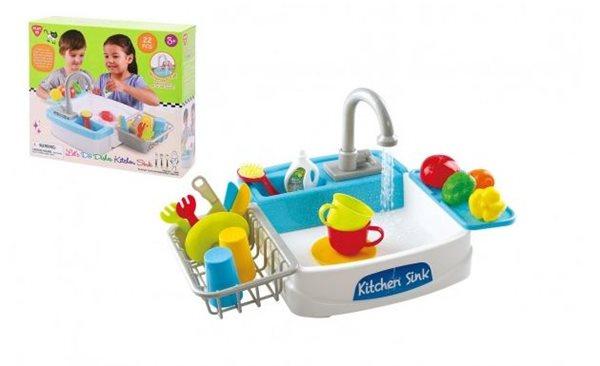 Dřez na mytí nádobí + kohoutek na vodu na baterie s doplňky 22 ks
