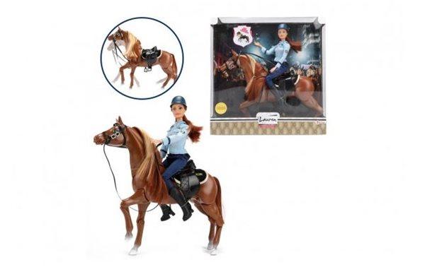 Panenka policistka kloubová 30 cm na koni se sedlem