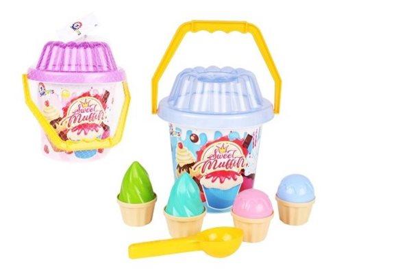 Sada na písek plast kbelík, lopatka, bábovky, mix 2 barev