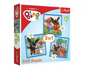 Puzzle 3 v 1 Bing Bunny Zábava s přáteli