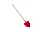 Rýč špičatý červený kovový s dřevěnou násadou, 80cm