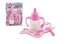 Kojenecká lahvička pro panenky s mlékem + dudlík + lžičky