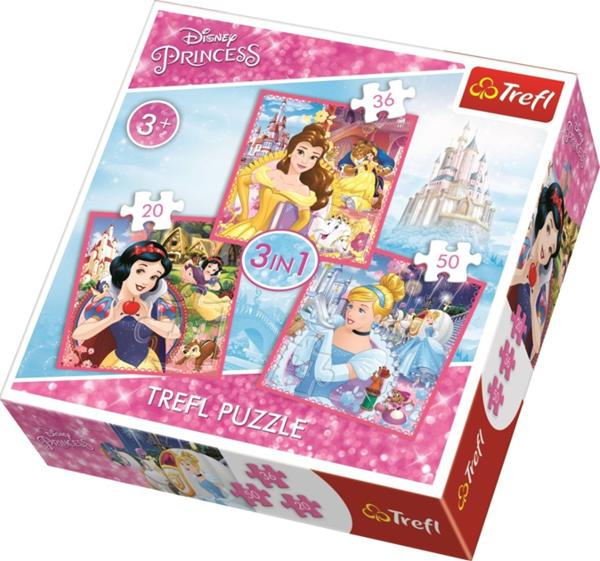Puzzle Princezny Disney 3 v 1