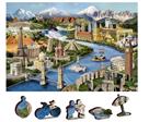 Dřevěné puzzle Světové památky 2 v 1, 150 dílků EKO