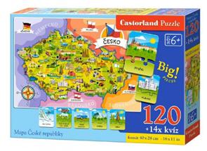 Puzzle Mapa České republiky 120 dílků + 14 kvízů 40x 28 cm