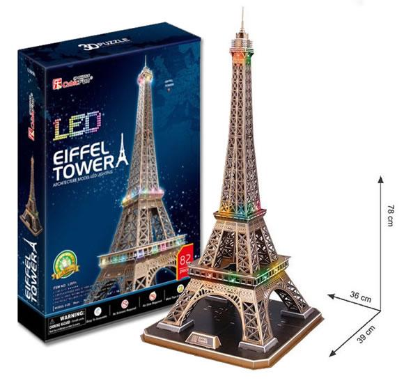 Puzzle 3D Eiffelova věž / led - 23x33 cm