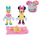 Minnie a Daisy figurky kloubové 8cm 2ks s piknikovými doplňky