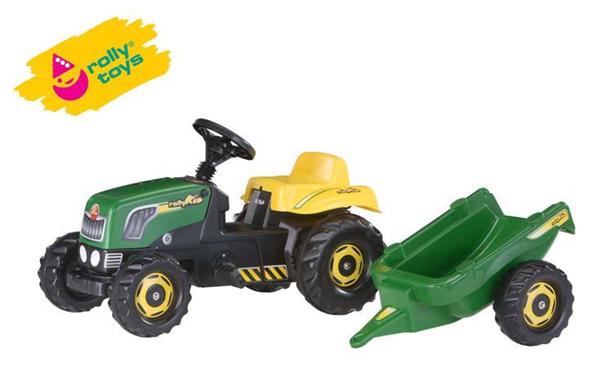 Šlapací traktor Rolly Kid s vlečkou - zelený, Doprava zdarma