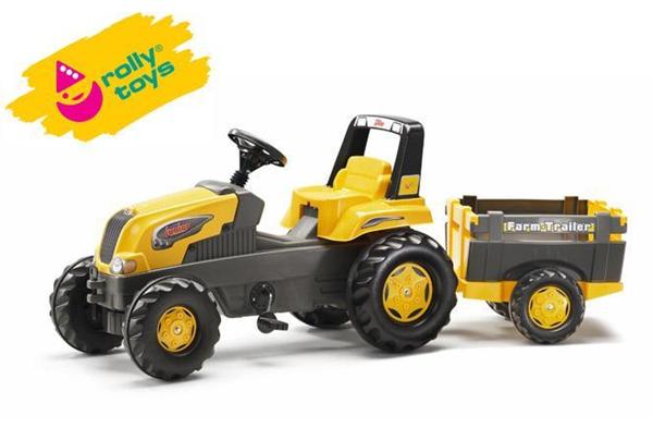 Šlapací traktor Rolly Junior s Farm vlečkou - žlutý, Doprava zdarma