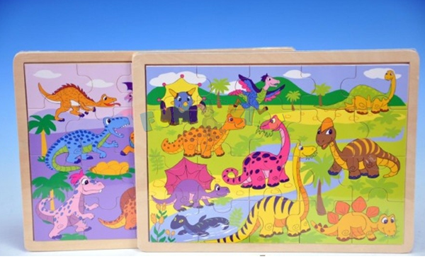 Puzzle dřevěné 30 x 22,5 cm dinosauři 20 dílků 24m+/ mix
