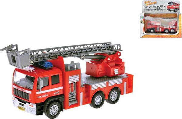 Auto hasiči 17 cm kovový se zpětným chodem na baterie česky mluvící