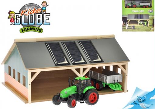 Farma dřevěná 1:50 + traktor kov na baterie se světlem a zvukem s doplňky