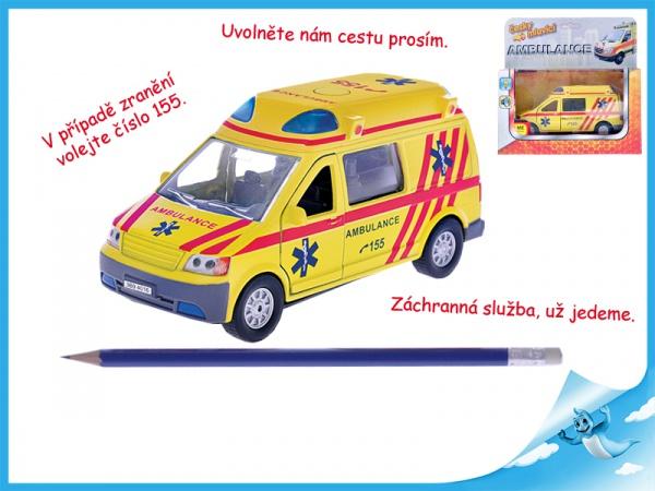 Auto Ambulance 13 cm kov se zpětným chodem na baterie mluvící