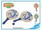 Plážová sada pálky 2-Play dřevěné 2ks 38x24cm s míčkem, mix barev