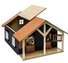 Stáj pro koně s dílnou dřevěná 51x40,5x27,5cm 1:24