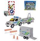 Policejní auto 13cm kovové s přívěsem + 2 vozíky od 2-Play, na baterie