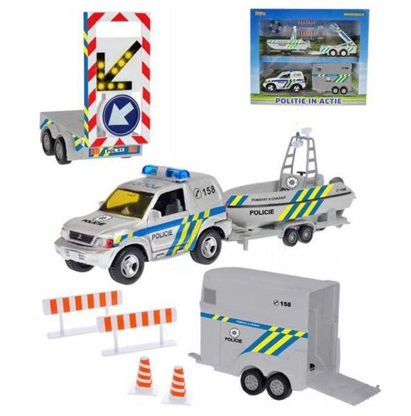 Policejní auto 13cm kovové s přívěsem + 2 vozíky od 2-Play, na baterie, Sleva 20%