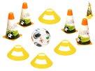 Fotbalové kužely 18cm 4ks + mety 4ks s míčem 12cm