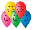 Nafukovací balónky 26 cm se smajlíkem 10 barev, 10 ks v sáčku