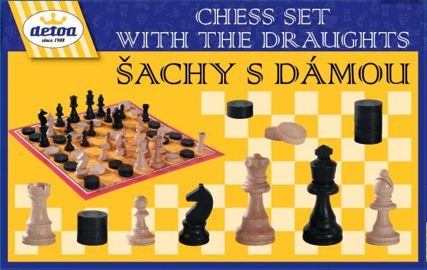 Šachy s dámou - dřevo - společenská hra
