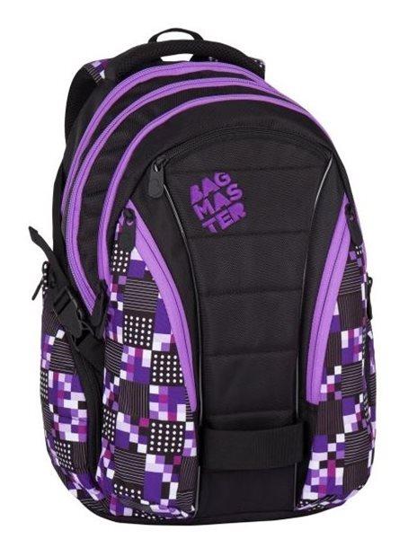 Studentský batoh Bagmaster - BAG 7 A BLACK/VIOLET, Doprava zdarma
