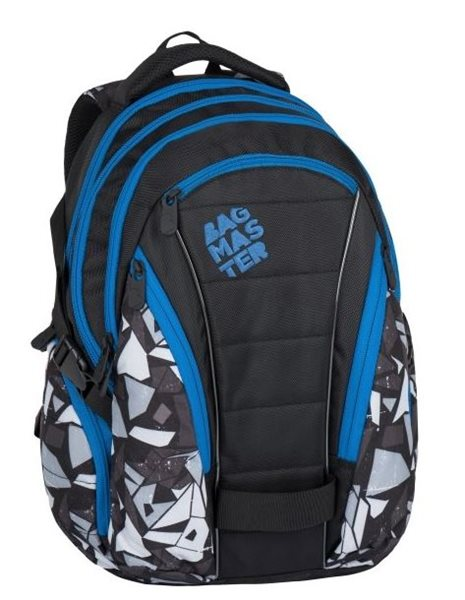 Studentský batoh Bagmaster - BAG 7 H BLACK/GREY/BLUE, Doprava zdarma