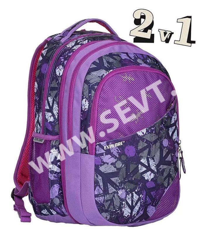 998eb714357 Studentský batoh Explore 2v1 DANIEL Peace Purple - SEVT.cz