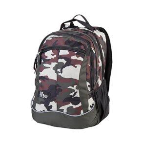 Školní batoh dvoukomorový Easy - Khaki camouflage