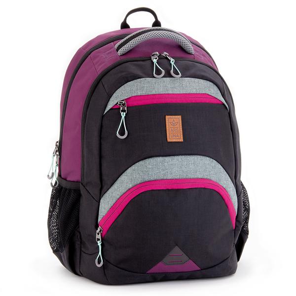 Školní batoh Ars Una AU13 - černo-fialový