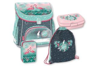 Školní set Ars Una - Pink Flamingo (aktovka + penál + sáček na cvičky)
