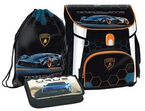 Školní set Ars Una Lamborghini 19 - aktovka + penál (plný) + sáček na cvičky