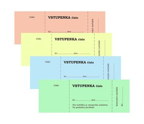 Bločkové vstupenky, 100 listů, číslovaná, 4 barvy