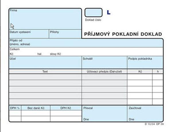 Příjmový pokladní doklad A6 (2×50l.) číslovaný - Pro podvojné účetnictví. Nepropisující tiskopis. Blok 100 listů. Formát A6. Modrá obálka. Číslovaný.