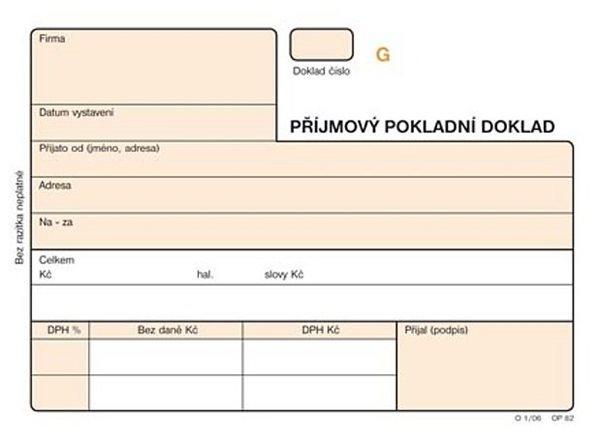 Přijmový pokladní doklad A6 NCR (3×25 l.) číslovaný - Samopropisující tiskopis. Blok 3 x 25 listů, tedy originál a dvě kopie pro 25 obchodních případů. Formát A6. Oranžová obálka. Číslovaný