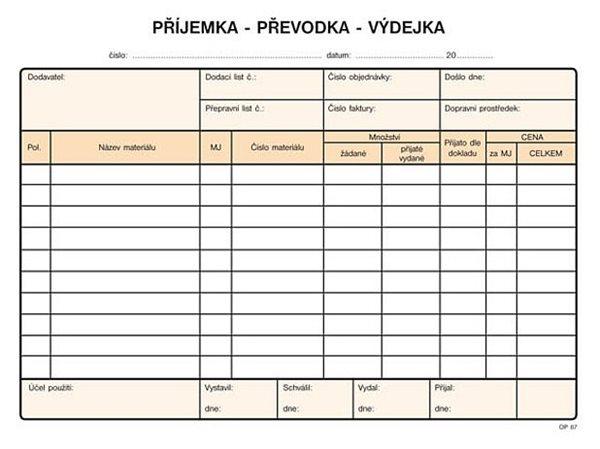 Příjemka, převodka, výdejka A5 NCR (100 l.) - Samopropisující tiskopis. Blok 100 listů. Formát A5. O