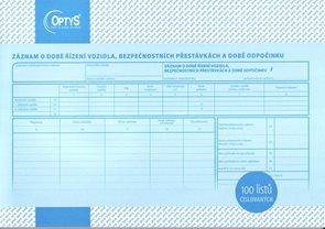 Záznam o době řízení vozidla a bezpečnostní přestávky A4 číslovaný