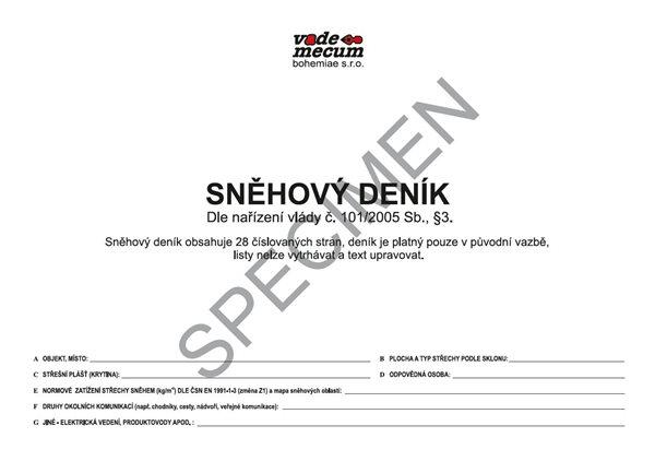 Sněhový deník dle nařízení vlády č. 101/2005 Sb., Sleva 22%