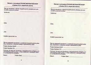 Zápisník bezpečnosti práce pro studenty s odbornou praxí