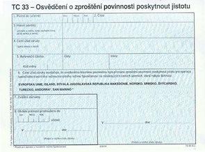 TC 33 - Osvědčení o zproštění povinnosti poskytnout jistotu (platné od 1. 2. 2016)